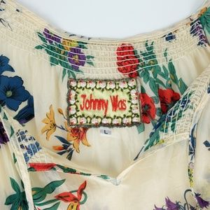 Johnny Was Floral Printed Short Sleeve Blouse